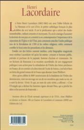 Henri Lacordaire - 4ème de couverture - Format classique