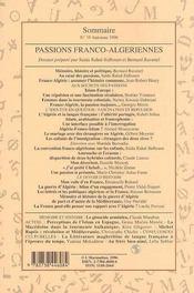 Passions Franco Algeriennes - 4ème de couverture - Format classique