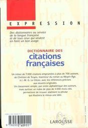Dictionnaire Des Citations Francaises - 4ème de couverture - Format classique