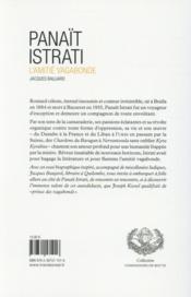 Panaït Istrati ; l'amitié vagabonde - 4ème de couverture - Format classique