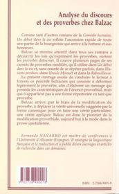 Analyse Du Discours Et Des Proverbes Chez Balzac - 4ème de couverture - Format classique