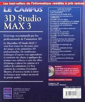 Le Campus 3d Studio Max 3 - 4ème de couverture - Format classique