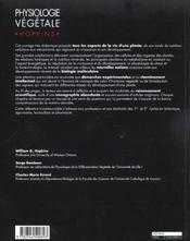 Physiologie vegetale - 4ème de couverture - Format classique