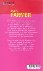 Mylene farmer legende - 4ème de couverture - Format classique