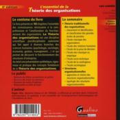 L'essentiel de la théorie des organisations (4e édition) - 4ème de couverture - Format classique