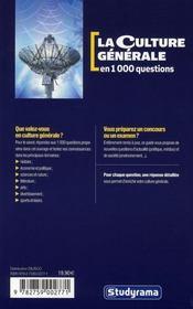 Culture generale en 1000 questions (la) 4eme edition - 4ème de couverture - Format classique