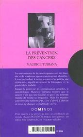 La Prevention Des Cancers - 4ème de couverture - Format classique