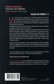 La trilogie des ombres T.3 ; passage des ombres - 4ème de couverture - Format classique