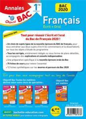 Objectif bac ; annales francais ; 1ere générale ; écrit + oral (édition 2020) - 4ème de couverture - Format classique