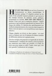 Hot off the press ; traduire sans trahir - 4ème de couverture - Format classique
