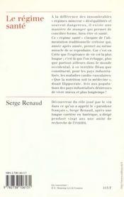 Le regime sante - 4ème de couverture - Format classique