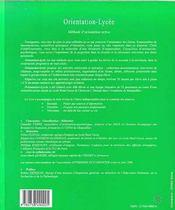 Orientation-Lycee ; Methode D'Orientation Active ; Livre Du Professeur - 4ème de couverture - Format classique