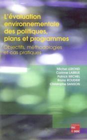 L'Evaluation Environnementale Des Politiques, Plans Et Programmes - Couverture - Format classique