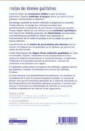 Analyse des donnees qualitatives (l') - 4ème de couverture - Format classique