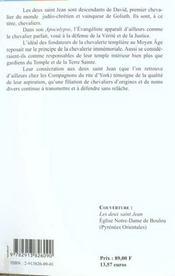 Les deux saint jean et la chevalerie templiere - 4ème de couverture - Format classique