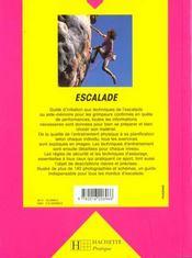Escalade - 4ème de couverture - Format classique