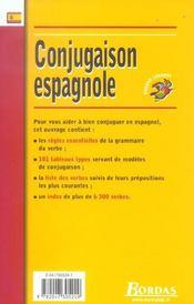 Conjugaison espagnole - 4ème de couverture - Format classique