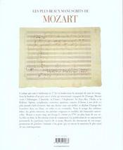 Les plus beaux manuscrits de mozart - 4ème de couverture - Format classique