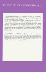 Elements De Geopsychiatrie - 4ème de couverture - Format classique