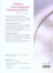 Tableau chronologique interdisciplinaire - 4ème de couverture - Format classique