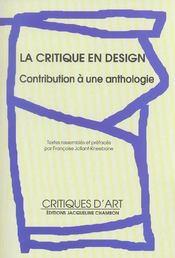 La Critique En Design - Contribution A Une Anthologie - Intérieur - Format classique