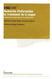 Recherche d'information et traitement de la langue : fondements linguistiques et applications - Couverture - Format classique