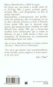 Piegee ; Memoires D'Une Anorexique - 4ème de couverture - Format classique