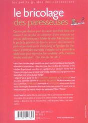 Le bricolage des paresseuses - 4ème de couverture - Format classique