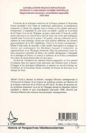 Les Relations Franco-Espagnoles Pendant La Deuxieme Guerre Mondiale - 4ème de couverture - Format classique