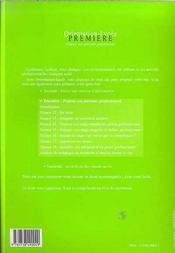 Orientation-Lycee ; Premiere ; Projeter Son Parcours Professionnel ; Livret De L'Eleve - 4ème de couverture - Format classique