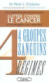 Lutter contre le cancer avec 4 groupes sanguins, 4 regimes - Intérieur - Format classique