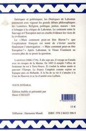 Dialogues de m. le baron de lahontan et d'un sauvage dans l'amérique - 4ème de couverture - Format classique