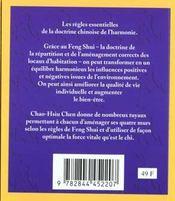 Le Feng Shui De A A Z ; La Doctrine Chinoise De L'Harmonie En Un Seul Coup D'Oeil - 4ème de couverture - Format classique