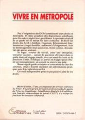 Vivre En Metropole - 4ème de couverture - Format classique