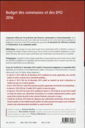 Budget des communes et des EPCI 2016 - 4ème de couverture - Format classique