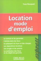 Location, Mode D'Emploi - Intérieur - Format classique