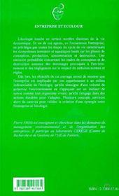 Entreprise Et Ecologie - 4ème de couverture - Format classique