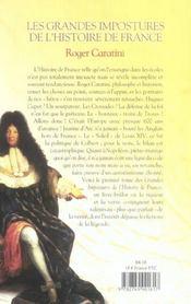 Les grandes impostures de l'histoire de france - tome 1 de vercingetorix a napoleon - vol01 - 4ème de couverture - Format classique