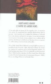 Le Maitre Des Jardins Noirs - 4ème de couverture - Format classique