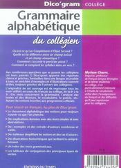 Dico'gram ; grammaire alphabétique du collégien - 4ème de couverture - Format classique