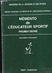 Memento Educ Sportif 1 Degre - Couverture - Format classique
