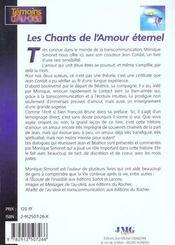 Les chants de l'amour eternel - 4ème de couverture - Format classique