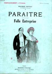 Paraitre Suivi De Folle Entreprise. - Couverture - Format classique