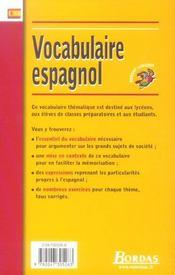 Vocabulaire espagnol - 4ème de couverture - Format classique