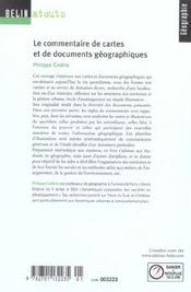 Le commentaire de cartes et de documents géographiques - 4ème de couverture - Format classique