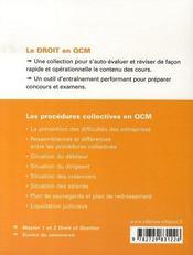 Les procédures collectives en qcm - 4ème de couverture - Format classique
