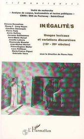 In/égalité/s ; usages lexicaux et variations discursives, XVIII-XX siècles - Intérieur - Format classique