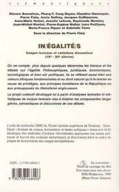 In/égalité/s ; usages lexicaux et variations discursives, XVIII-XX siècles - 4ème de couverture - Format classique