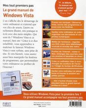 Mes tout premiers pas avec Windows Vista ; guide complet - 4ème de couverture - Format classique