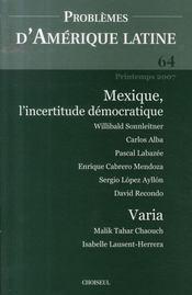 Mexique, l'incertitude démocratique - Intérieur - Format classique